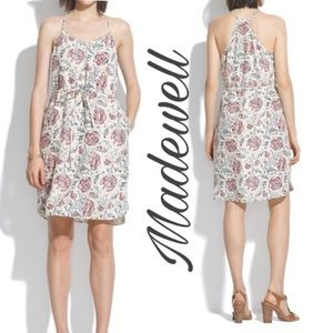 MADEWELL Silk Cream and Red Floral Strappy Dress